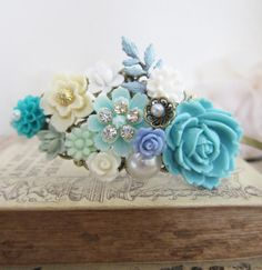 Halloween Headpiece Fascinator Turquoise Blue Aqua Teal Mint Statement Fantasy Elf Fairy Tale Flowers Floral Romantic Ethereal Enchanting on Etsy, $36.00