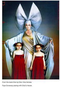 Image of Faye Dunaway posing with Eiko Ishioka's nieces from the book Eiko: Eiko Ishioka.