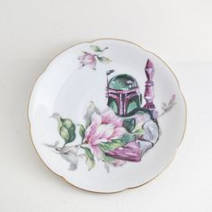 Boba Fett and Flowers cameo portrait on vintage china.