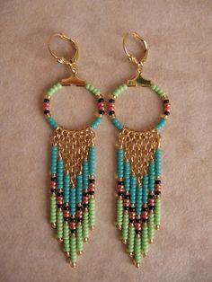 Seed Bead Hoop Earrings  Aqua/Lime Green by pattimacs on Etsy, $16.00