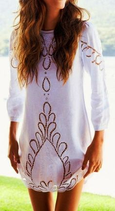 3/4 Sleeves White Crochet Style Blouse