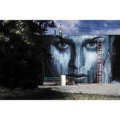 Photograph  Ian Cox @wallkandy Winter sun and a favourite process shot of @r_o_n_e  in #Miami from way back when. #wallkandy #art #rone #streetart #mural #portrait #graffiti #wynwood #fb #f #t #p #painting