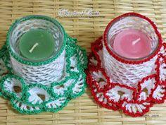 porta candele uncinetto   Hobby lavori femminili - ricamo - uncinetto - maglia