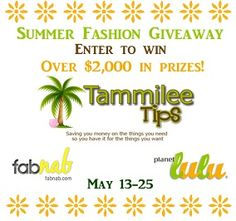 Just A Giveaway: Tammilee Tips 20,000 Facebook Fan Celebration: $2000 Summer Fashion Giveaway 5/13- 5/25