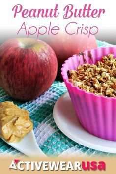 Peanut Butter Apple Crisp Recipe - a healthy vegan and gluten-free dessert which is easy to make and tastes super-indulgent!