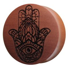 Hamsa Saba Wood Plug | UK Custom Plugs Shop for gauges, alternative fashion & body jewellery
