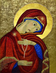 """""""Our Lady of the Rosary Icon -- The basic goal of the Rosary is to bring peace into the world, the peace of Christ, through Mary into the hearts of the children of God, by the power of the Holy Spirit, uniting us as one."""""""