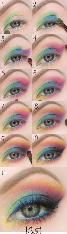 Trends of 2017 Colorful Eye Makeup & Best Products for Colorful Eye Makeup colorful make-up tutorial - so pretty! could do this for the color run!colorful make-up tutorial - so pretty! could do this for the color run! Rainbow Dash, Rainbow Eyes, Rainbow Makeup, Colorful Eye Makeup, Colorful Eyeshadow, Pastel Eyeshadow, Rainbow Pastel, Rainbow Brite, Maquillage Halloween
