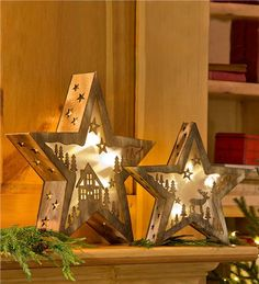 Main image for Small Lighted Wooden Star with Moose Design, 11%26quot;H