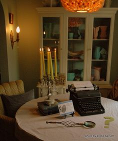 mystery party decor... Trin's typewriter will come in handy here...