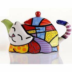 ROMERO BRITTO Mini Teekanne 'Katze' - Pop Art Kunst aus Miami: Amazon.de: Küche & Haushalt