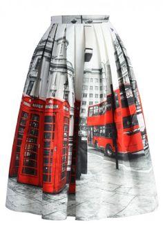 Midi Falda con Pliegues y Estampada con Paisaje de Londres
