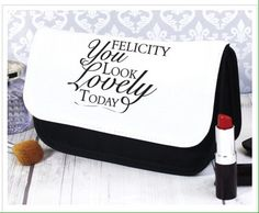"Personalised Makeup CaseOur ""You look lovely"" makeup case is a wonderfully unique gift for her.Personalise with a name up to 12 characters including spaces and punctuation.The words ""You look lovely today"" are a fixed part of the design. Unique Gifts For Her, Gifts For Mum, Personalized Makeup Bags, Personalized Gifts, Personalised Baby, Mother Of The Groom Gifts, Mother Day Gifts, Wedding Day Gifts, Makeup Case"