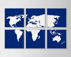 World Map Set of 6 Prints - Navy and White $50