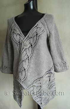 Dramatic Lace Top-Down Wrap Cardigan by SweaterBabe