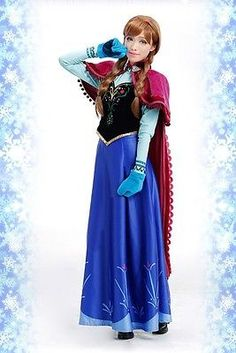 Disney Movie Frozen Anna Dress Top Cosplay Costume for Adult COS Party Wear