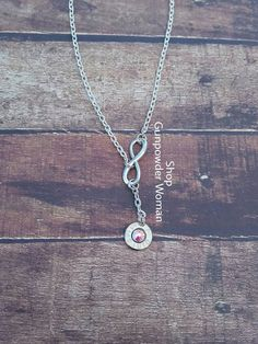 Infinity 45 Caliber Bullet Necklace for the by GunPowderWoman Gunpowder Woman Country Girl Hunting Country Wedding Fishing Jewelry Bullet Jewelry Redneck Country Deer Hunting Browning Camo Realtree Mossy Oak Guns Firearms Shotgun Shell Jewelry Archery Bullet Ring Bullet Earrings Huntress