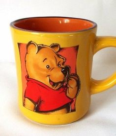 Disney Coffee Mug Winnie Pooh Bear Novelty Character Cup Orange Red Yellow