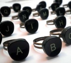 72 Upcycled Jewelry Pieces Up cycled typewriter key rings
