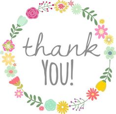 Floral Wreath thank you round stickers / tags / cupcake toppers for etsy shops, birthday party, baby shower, etc various sizes