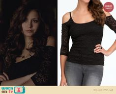 The Vampire Diaries Fashion: Bebe Cold Shoulder Sleeve Top worn by Nina Dobrev Vampire Diaries Shirts, Vampire Diaries Fashion, Fashion Tv, Fashion Beauty, Fashion Outfits, 1950s Fashion, Black Lace Tops, Lace Dress Black, Black Laces