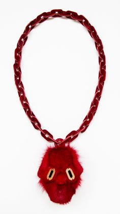 OFF JOYA at Klimt02 Gallery - Noon Passama - Necklace: Portrait # 8 / 2013 Pendant part: antelope fur. Chain part: horse fur. Eyes: pink gold plated silver 9.2 x 9.4 x 8.1 cm. Chain ...
