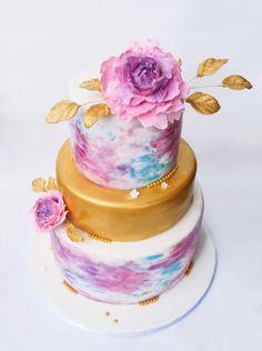 Water colour wedding cake by Tarte de Fleurs - http://cakesdecor.com/cakes/290374-water-colour-wedding-cake