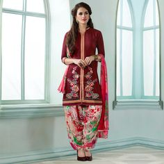 Buy Maroon Festive Wear Patiala Suit for womens online India, Best Prices, Reviews - Peachmode