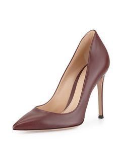 Leather Pointed-Toe Pump, Burgundy by Gianvito Rossi at Bergdorf Goodman.