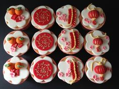 Chinese New Year cupcakes with handcrafted toppers