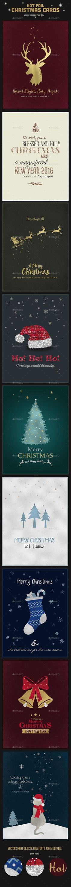 9 Hot Foil Christmas Cards Templates PSD #design Download: http://graphicriver.net/item/9-hot-foil-christmas-cards-psd-vol2/13456035?ref=ksioks