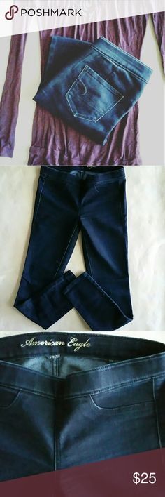 "American Eagle Outfitters Stretch Jegging 4 American Eagle Outfitters Stretch Dark Wash Jegging size 4. In excellent like new condition.   76% Cotton / 24% Elasterell-P exclusive of decoration. Flat lay measurements : 14"" waist / 15"" hip / 7"" rise / 27"" inseam. Please let me know if you have any questions. 30% discount when using the bundle feature. No trades! American Eagle Outfitters Jeans Skinny"