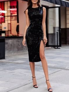 Sexy Sequins Side Slit Slinky Bodycon Dress Source by for sequin dress Sexy Dresses, Beautiful Dresses, Dress Outfits, Evening Dresses, Fashion Dresses, Prom Dresses, Formal Dresses, Elegant Dresses, Romantic Dresses