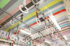 Washi tape art in public space