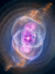 This image is NGC 6543 known as the Cat's Eye Nebula as it appears to the Chandra X-Ray Observatory and Hubble Telescope. A planetary nebula is a phase of stellar evolution that the sun should experience several billion years from now. Hubble Space Telescope, Space And Astronomy, Nasa Space, Space Space, Constellations, Carl Sagan Cosmos, Planetary Nebula, Horsehead Nebula, Orion Nebula