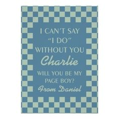 Will You Be My Page Boy Blue Checkboard Card