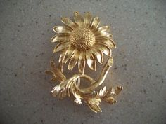 Monet Goldtone Sunflower Brooch/Pin by IsabelsVintage on Etsy