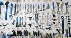 You'll need these essential bike tools to perform your own bike repair and maintenance at home. Bicycle Tools, Bicycle Shop, Power Tool Storage, Park Tool, Diy Jewelry Findings, Sea Glass Jewelry, Garages, Jewelry Supplies, Workshop
