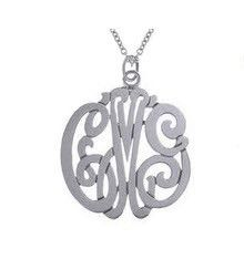 Sterling Silver Monogram Initial Necklace - sterling silver or gold plated