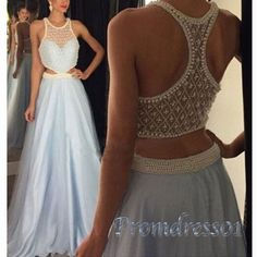 Beautiful pearl beaded cross back hollow light blue chiffon evening dress for prom 2016, ball gown, prom dresses long #coniefox #2016prom