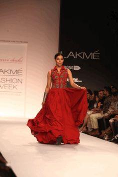 Red twirling dress - Purvi Doshi's Resort Renaissance Collection {Lakme Fashion Week 2014}