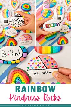 Rainbow Kindness Rocks are a wonderful way to spread kindness and happiness to others with beautiful painted rocks. Diy Craft Projects, Diy Crafts For Kids, Projects For Kids, Easy Crafts, Creative Kids, Creative Crafts, Cardboard Art, Kindness Rocks, Business For Kids