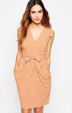 f6b812ef89558 ASOS(エイソス)クレープドレス TALL Crepe Dress  Nude