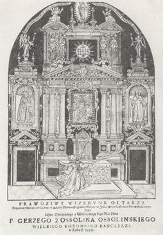 "Silver-ebony altar in the Chapel of Black Madonna of Częstochowa founded by chancellor Jerzy Ossoliński in Jan Dionizy Łobżyński's ""Dies natalis abo panegyrik kościelny"" by Monogrammist SNA in Kraków, 1650, Jasna Góra Monastery. The altar founded in 1645 by Ossoliński was created by Giovanni Battista Gisleni and Johann Christian Bierpfaff in Warsaw and completed with some elements of original silver altar commissioned by Sigismund III Vasa in Augsburg in 1623. #print #artinpl #17thcentury Krakow, Warsaw, 17th Century, Altar, Madonna, Christian, The Originals, Silver, Black"