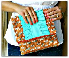 "Ruffled Fold-over Clutch Bag - Free Sewing Tutorial by ""Sew Caroline"" and ""See Kate Sew"""