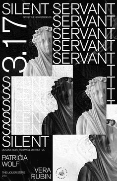 Evan Geltosky : Poster for silent servant show in pdx Graphic Design Posters, Graphic Design Typography, Graphic Design Inspiration, Graphic Art, Vintage Graphic, Black And White Wallpaper Iphone, White Iphone, Die A, Layout Design