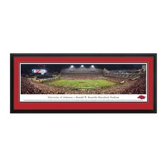 "Arkansas Razorbacks 18"" x 44"" 50-Yard Line Deluxe Framed Panoramic Wall Art"