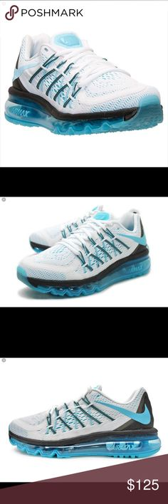 """Nike Air Max 2015 Women's Running Shoes Size 5.5 The Nike Air Max 2015 Athletic feature a Synthetic upper with a Round Toe . The Man-Made outsole lends lasting traction and wear.  698903 104 Brand Color: White/Clearwater-Black (Main Color: White) Material: Synthetic Measurements: 1.75"""" heel Width: B(M). (New Without Box) Nike Shoes Athletic Shoes"""