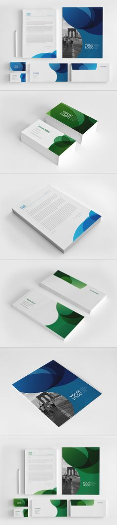 Blue Green Circles Stationery on Behance