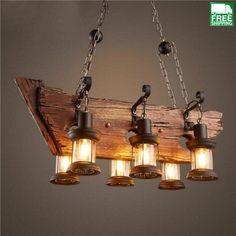 Wood Beam Six Hanging Bulb Chandelier Light